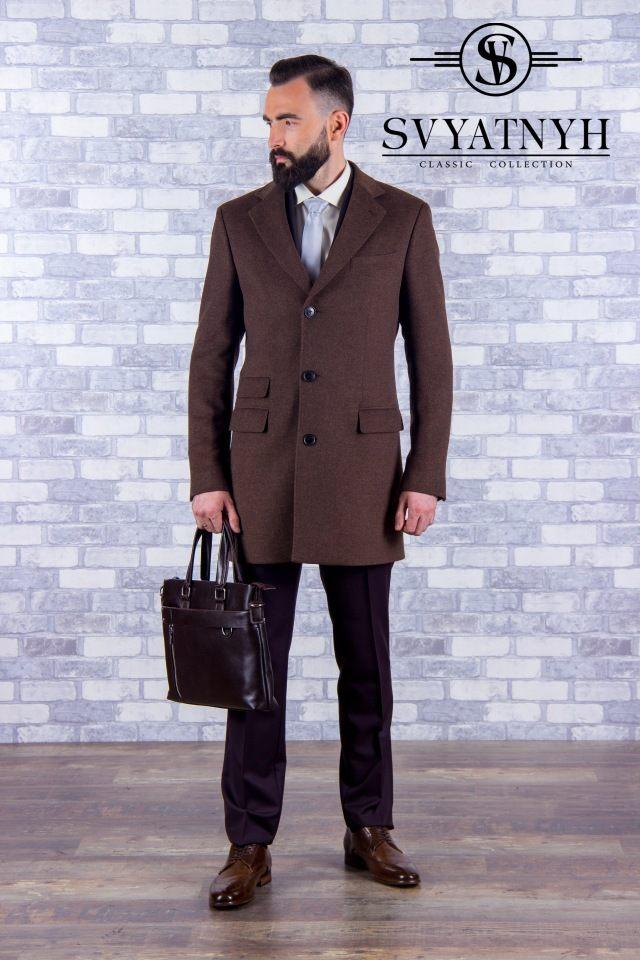 Мужское пальто с шерстью деловое