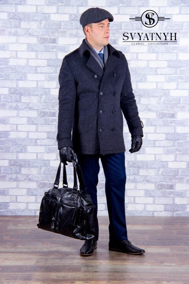 Мужское пальто с шерстью повседневное